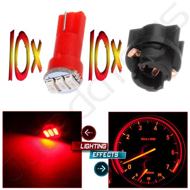 10x Twist Socket T5 73 74 led 3-3014SMD Instrument Cluster Dash Light Bulbs Red