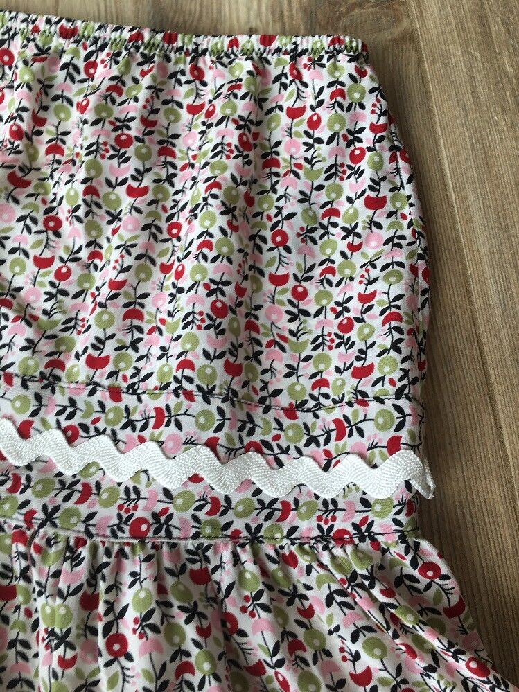 Anna Sui Anthropologie Silk Tiered Floral Ric Rac Skirt 6