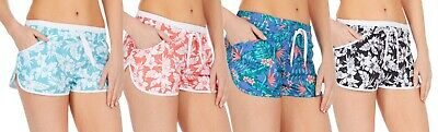 FäHig Womens Swim Shorts Floral Swimming Surf Beach Shorts With Elasticated Waist Size