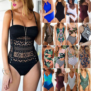 Womens One Piece Push Up Padded Bra Bikini Monokini Swimwear Swimsuit Beachwear