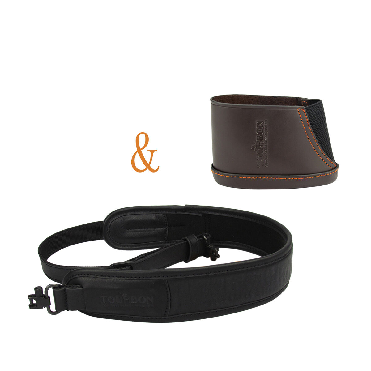 Tourbon Rifle Ammo Sling  Swivels Gun Strap & Recoil Pad Slip-on Leather Hunting  is discounted