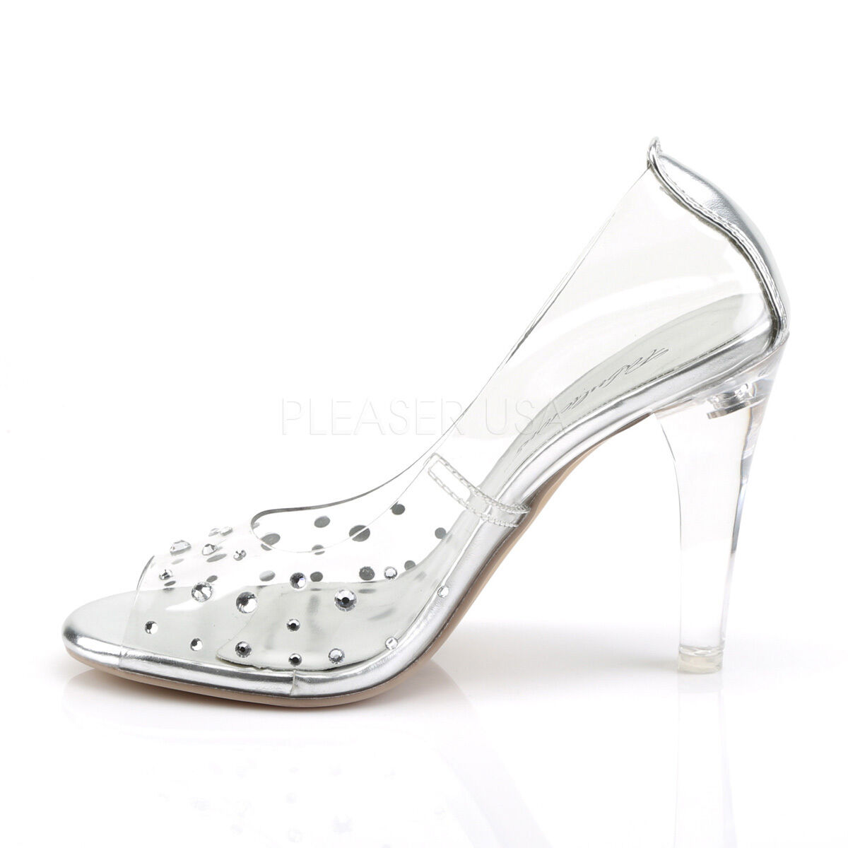 Clear Disney Princess Wedding Bridal Heels Glass Slippers Costume Schuhes Größe 7 8