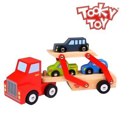Holz-auto-transporter Mit Truck Und 3 Autos Ab 3 Jahren Ca Baby Spielzeug 29,5 X 8 X 17 Cm
