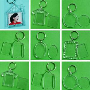 1-10x-Clear-Acrylic-Blank-Plastic-Insert-Photo-Frame-Key-Ring-Keychain-Gift-New