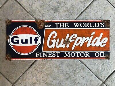 Antique style porcelain look Gulf pride dealer service station gas pump sign