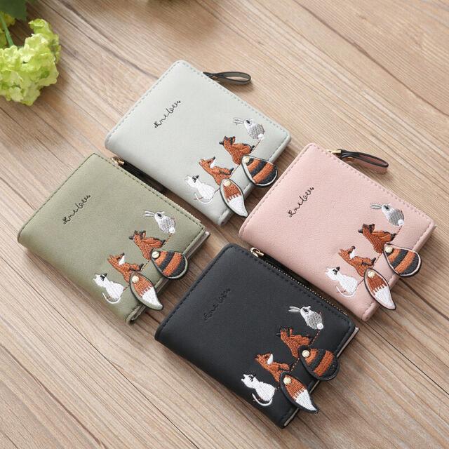 Womens Purse Mini Small Zip Wallet Folding Purse Animals Coin Card Holder Clutch