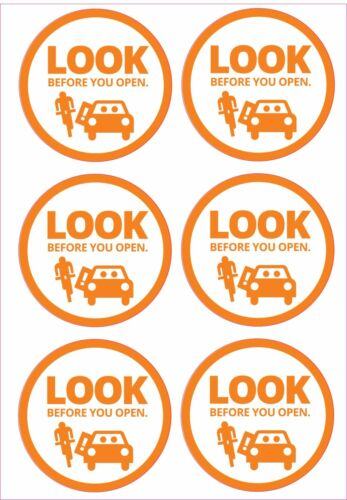 LOOK BEFORE YOU OPEN SAFETY VEHICLE DOOR OPENING STICKERS  X2 A4 SHEETS