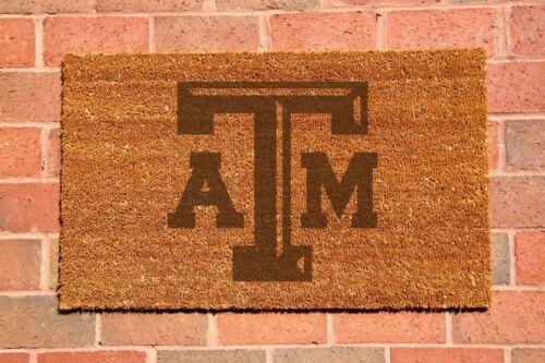 Texas A&M Aggies Laser Engraved Welcome Mat, 100% Natural Coir Fiber