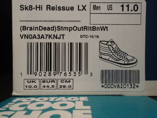 VANS SK8-HI REISSUE LX BRAIN DEAD STAMP STAMP STAMP OUT REALITY Weiß CHECKER VN0A3A7KNJT 11 9400f4