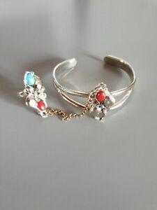 Armreif-Ring-Indianerschmuck-Tuerkis-Sklavenring-Silber-33g-Sklavenarmband-CP6096