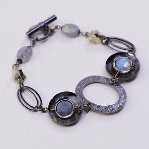 6-5-Vtg-Antique-Brass-Bracelet-W-Disc-Charm-N-Moonstone-Inlah
