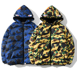 Bape-A-Bathing-Ape-Shark-Head-Winter-Thick-Men-039-s-Jacket-Camo-Hooded-Padded-Coat