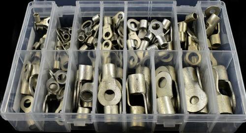 100 piezas Surtido Terminales De Anillo de tubo de cobre de extremo abierto Alambre Eléctrico Kit De Crimpado