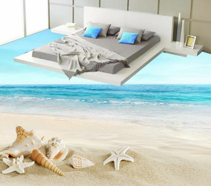 3D Wide Ocean Sandy Star Floor WallPaper Murals Wall Print Decal 5D AJ WALLPAPER