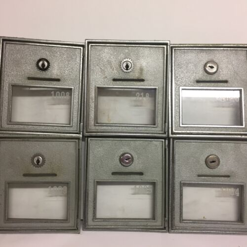 6 Vtg CORBIN Post Office Mail Box Door Heavy Nickel Plated Bronze #2 No Keys
