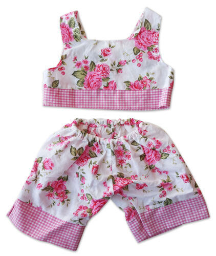 """Flowers /& Gingham Pjs Fits Most 14/"""" 18/"""" Build-a-bear and Make Your Own Stuffed"""