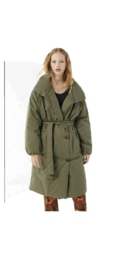 Urban Outfitters Army Green Puffer Belted Trench C
