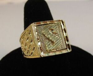 SIZE 11 MENS 14KT GOLD EP BLING LETTER R INITIAL HIP HOP RING WAS $15.95