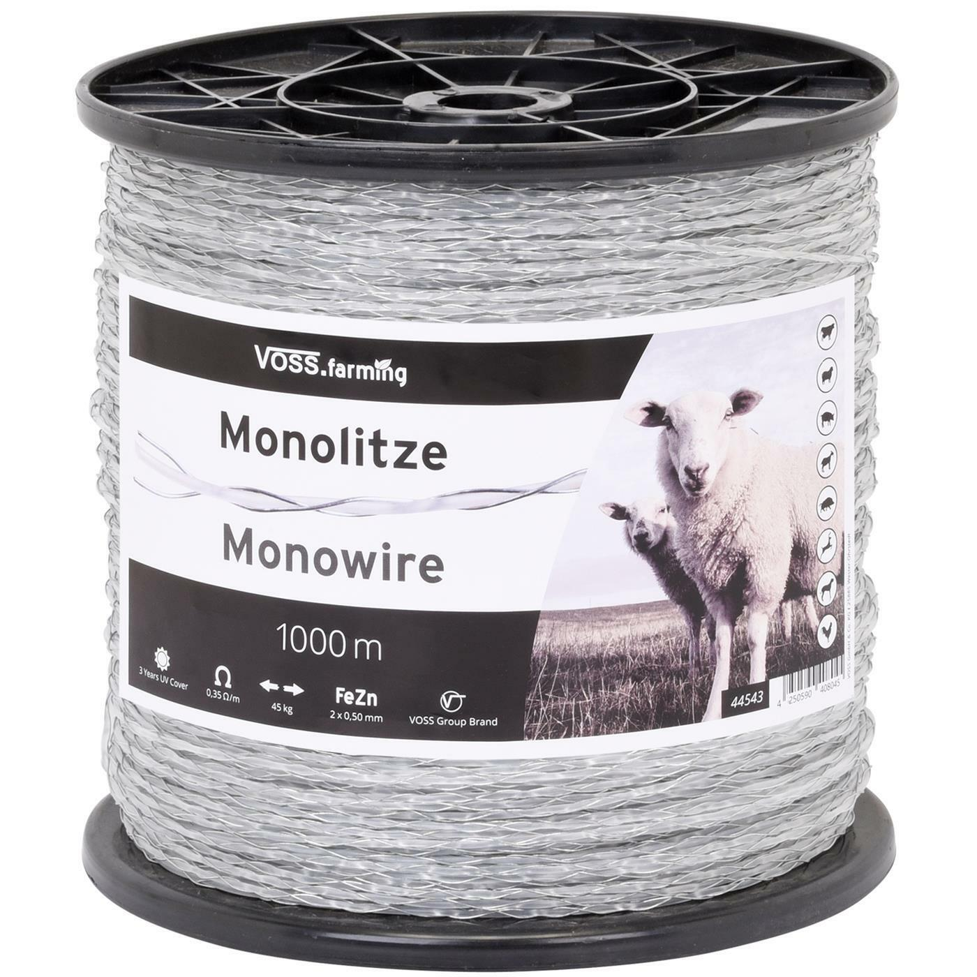 1000m Electric Fence Poly Wire D 2.5 mm Steel 2x 0.5 transparent