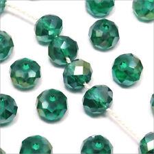 Lot de 20 Perles à Facettes Rondelles en cristal 8x6mm Vert Emeraude