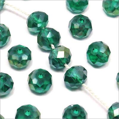 50 Perles Facettes 6mmx4mm Rondelles Cristal BLEU TURQUOISE Verre Taillé VT4.11