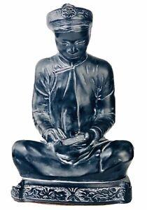 MCM-Alexander-Backer-ABCO-Black-Chalkware-Reading-Buddist-Monk-Chinoiserie