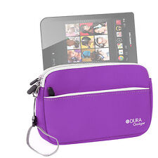 """Travel Pouch-Style Case in Purple Neoprene for Monster M7 7"""" Tablet"""
