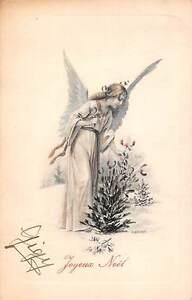 Joyeux-Noel-Merry-Christmas-Fantasy-Lady-Woman-Angel-Winter-Signed-1910