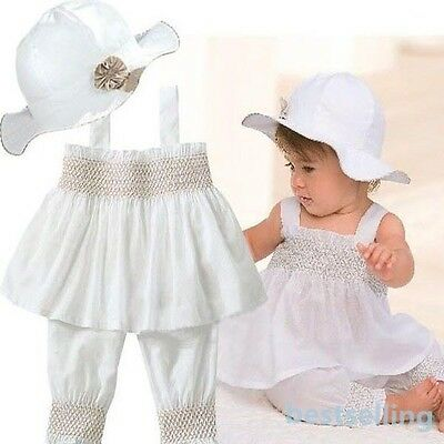 Girls Top+Pants+Hat Set Baby Kids Ruffled 3 Pieces Outfit Prince Costume Sz 0-3Y