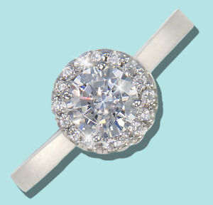 .75 ct Halo Ring Top Russian Quality CZ Simulated Mossanite Imitation SS Size 10