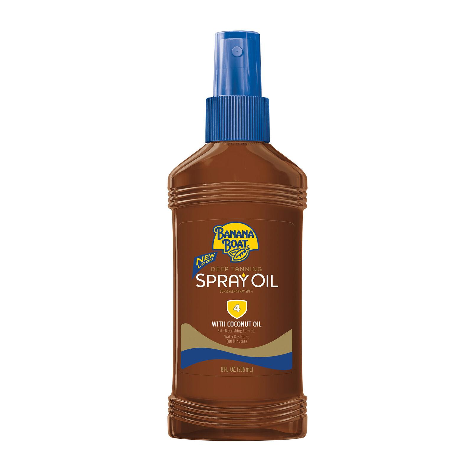 4 Packung Banana Boat Tief Bräunungs Öl Spray, mit Sonnenschutz SPF 4, 237ml Je