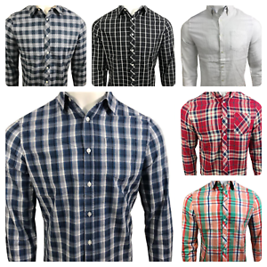 Ex-UK-Chainstore-Men-039-s-Long-Sleeves-Check-Cotton-Summer-Casual-Shirt-Tops