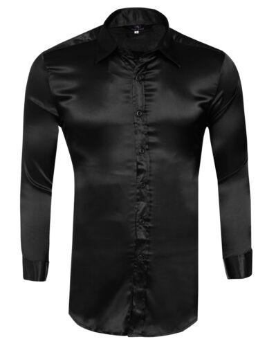 Fashion Mens Silk-Like Satin Dress Shirts Slim Fit Long Sleeve Casual Shirt Tops
