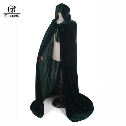 Women Men Adult Hood Long Cloak Wizard Witch Medieval Robe Shawl Party Costumes