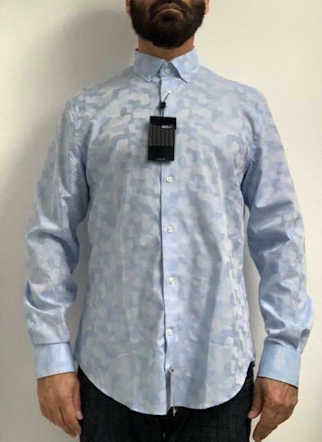 NWT New WILLIAM RAST Blau Camo Mens Long Sleeve Button Front Shirt Sz M 15 32