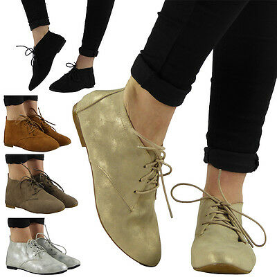 NEW WOMENS LADIES CASUAL FLAT LACE UP LOW HEEL ANKLE SHOES BOOTS BOOTIES SIZE
