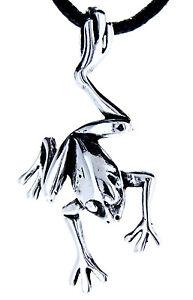 Nr-4-Frosch-Frog-im-Sprung-Anhaenger-925-Sterling-Silber-mit-Band-Kettenanhaenger