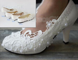 bcf44ffa8e7 Details about Lace white ivory crystal Wedding shoes Bridal flats low high  heel pump size 5-12