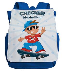 klassisch letzter Rabatt Markenqualität Details zu Kindergartenrucksack mit Namen   Checker & Skateboard in blau    Jungen Kinder