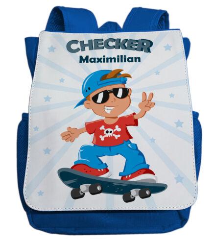 Kindergartenrucksack mit NamenChecker /& Skateboard in blauJungen Kinder