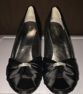 4c5a581a1823 Nine West Black Satin W Rhinestones Open Toe High Heel Shoes Size ...