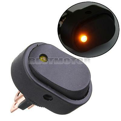 12V 30A LED Light Car Boat Auto Rocker SPST Toggle Switch 12mm Yellow LED