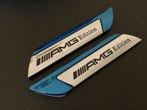 2 X MERCEDES //////AMG EDITION Side Wing Fender Badge Emblem