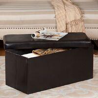Modern Storage Ottoman Dark Brown Leather Folding Stool Contemporary Accent