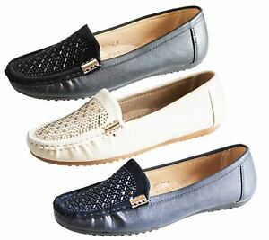 Image is loading Womens-Loafers-Flat-Casual-Comfort-Ladies-Diamante-Summer- 5bc13d07d4