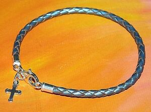Ladies-3mm-Silver-leather-amp-sterling-silver-Cross-charm-bracelet-Lyme-Bay-Art