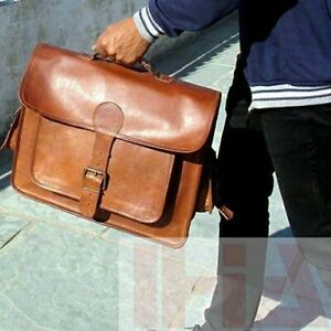 Bag-Leather-Goat-Laptop-Messenger-Men-Briefcase-Shoulder-Vintage-Brown-New-Real