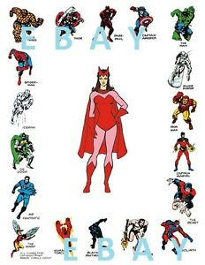 Marvel CHARACTERS BORDERED PRINT w SCARLET WITCH Vintage art