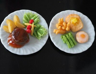 7 Steak Salad /& Ham on Plates Dollhouse Miniatures Food Supply Deco