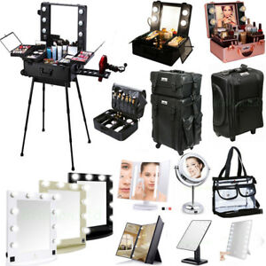 Details About Professional Makeup Case Box W Light Cosmetic Bag Led Lighted Make Up Mirror